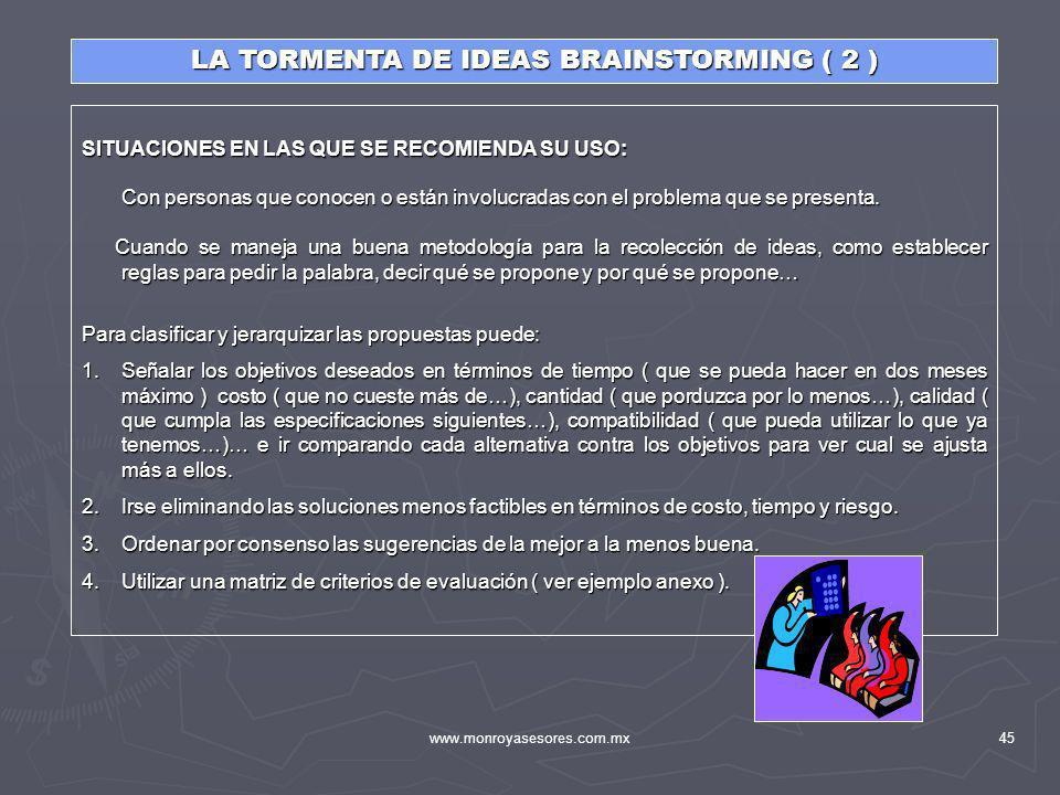 www.monroyasesores.com.mx45 SITUACIONES EN LAS QUE SE RECOMIENDA SU USO: Con personas que conocen o están involucradas con el problema que se presenta