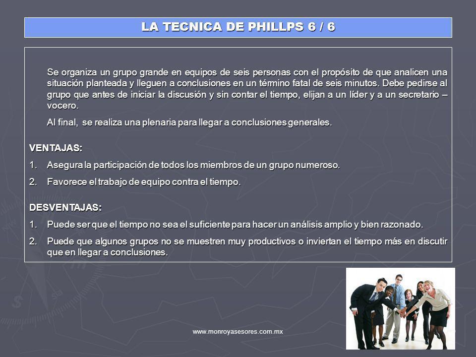 www.monroyasesores.com.mx50 LA TECNICA DE PHILLPS 6 / 6 Se organiza un grupo grande en equipos de seis personas con el propósito de que analicen una s