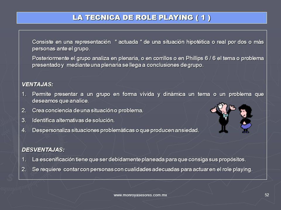 www.monroyasesores.com.mx52 LA TECNICA DE ROLE PLAYING ( 1 ) Consiste en una representación actuada de una situación hipotética o real por dos o más p