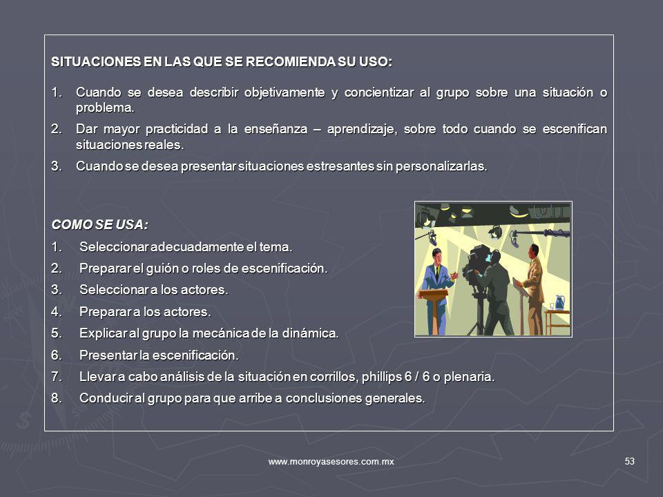 www.monroyasesores.com.mx53 SITUACIONES EN LAS QUE SE RECOMIENDA SU USO: 1.Cuando se desea describir objetivamente y concientizar al grupo sobre una s