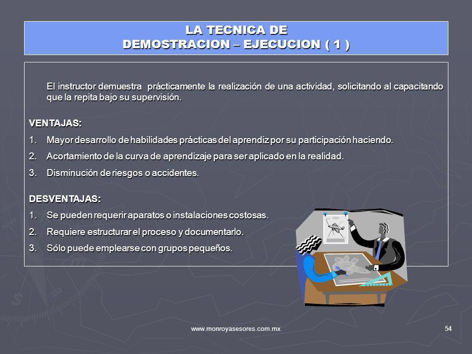 www.monroyasesores.com.mx54 LA TECNICA DE DEMOSTRACION – EJECUCION ( 1 ) El instructor demuestra prácticamente la realización de una actividad, solici