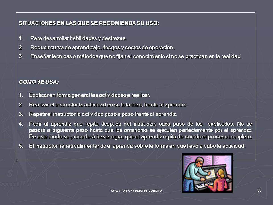 www.monroyasesores.com.mx55 SITUACIONES EN LAS QUE SE RECOMIENDA SU USO: 1. Para desarrollar habilidades y destrezas. 2. Reducir curva de aprendizaje,