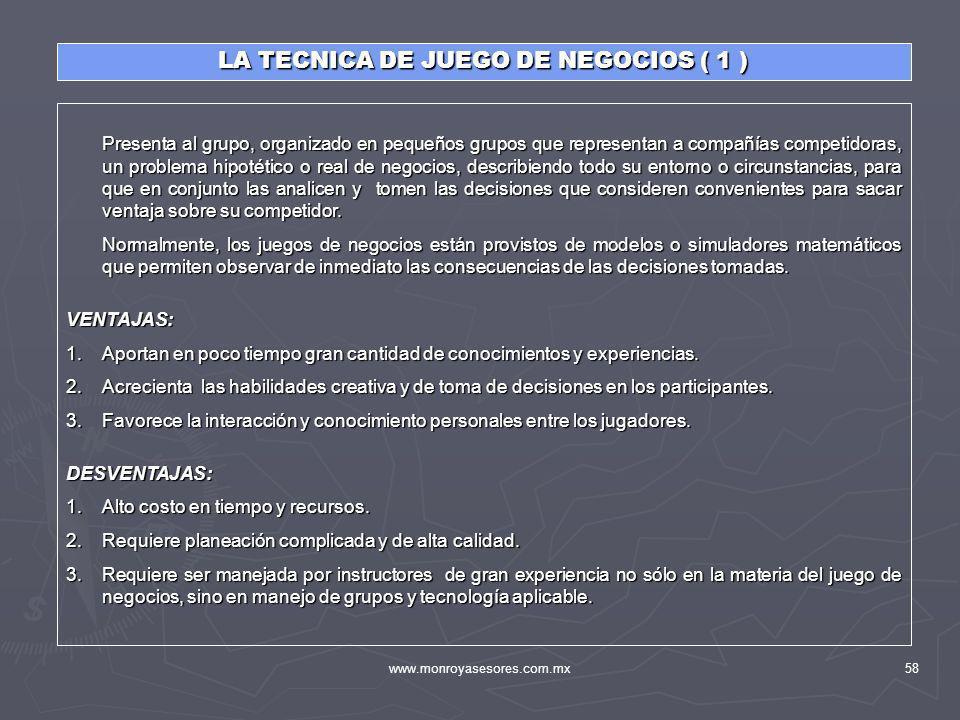 www.monroyasesores.com.mx58 LA TECNICA DE JUEGO DE NEGOCIOS ( 1 ) Presenta al grupo, organizado en pequeños grupos que representan a compañías competi