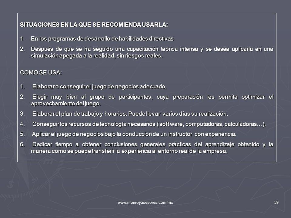 www.monroyasesores.com.mx59 SITUACIONES EN LA QUE SE RECOMIENDA USARLA: 1.En los programas de desarrollo de habilidades directivas. 2.Después de que s