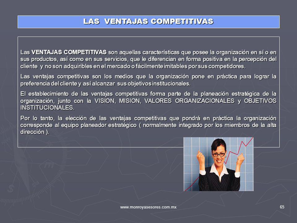 www.monroyasesores.com.mx65 LAS VENTAJAS COMPETITIVAS Las VENTAJAS COMPETITIVAS son aquellas características que posee la organización en sí o en sus
