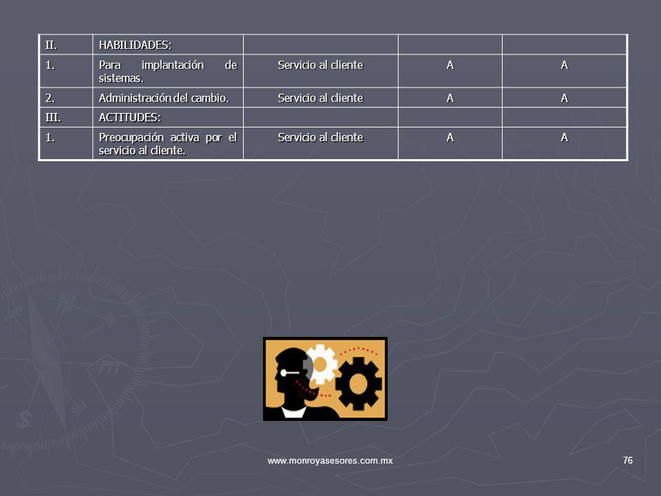 www.monroyasesores.com.mx76 II.HABILIDADES: 1. Para implantación de sistemas. Servicio al cliente AA 2. Administración del cambio. Servicio al cliente