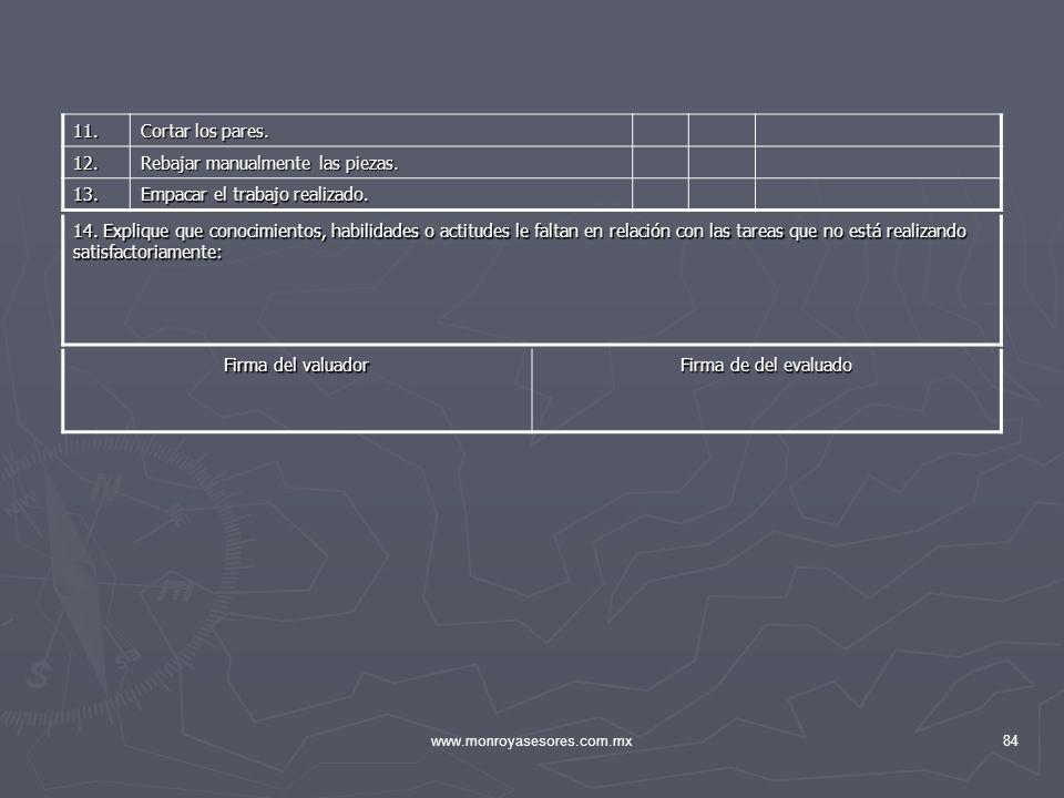 www.monroyasesores.com.mx84 14. Explique que conocimientos, habilidades o actitudes le faltan en relación con las tareas que no está realizando satisf