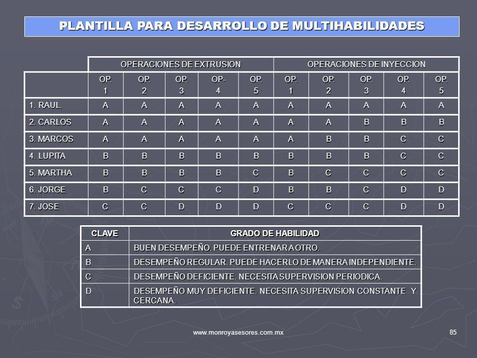 www.monroyasesores.com.mx85 PLANTILLA PARA DESARROLLO DE MULTIHABILIDADES OPERACIONES DE EXTRUSION OPERACIONES DE INYECCION OP.1OP.2OP.3OP-4OP.5OP.1OP