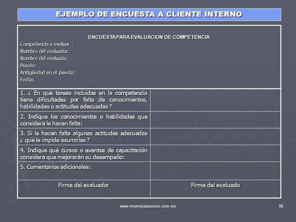 www.monroyasesores.com.mx86 EJEMPLO DE ENCUESTA A CLIENTE INTERNO ENCUESTA PARA EVALUACION DE COMPETENCIA Competencia a evaluar : Nombre del evaluador