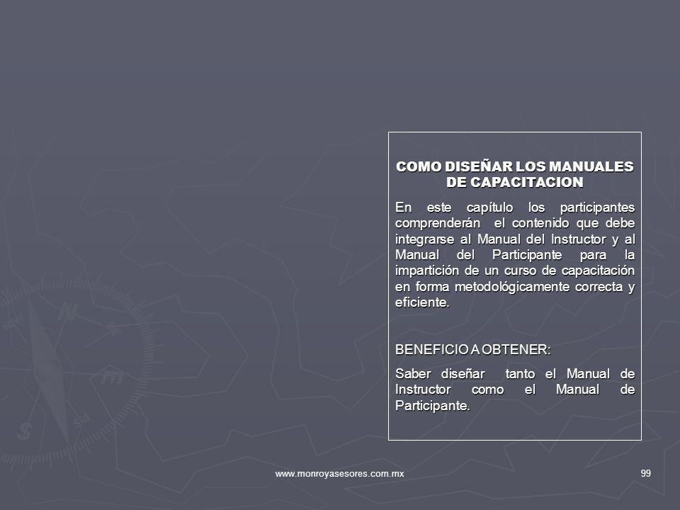 www.monroyasesores.com.mx99 COMO DISEÑAR LOS MANUALES DE CAPACITACION En este capítulo los participantes comprenderán el contenido que debe integrarse
