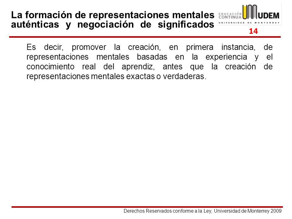 Derechos Reservados conforme a la Ley, Universidad de Monterrey 2009 La formación de representaciones mentales auténticas y negociación de significado