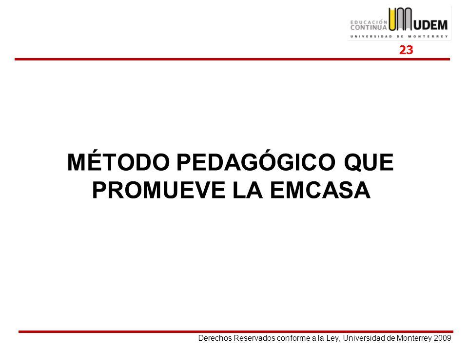 Derechos Reservados conforme a la Ley, Universidad de Monterrey 2009 MÉTODO PEDAGÓGICO QUE PROMUEVE LA EMCASA 23