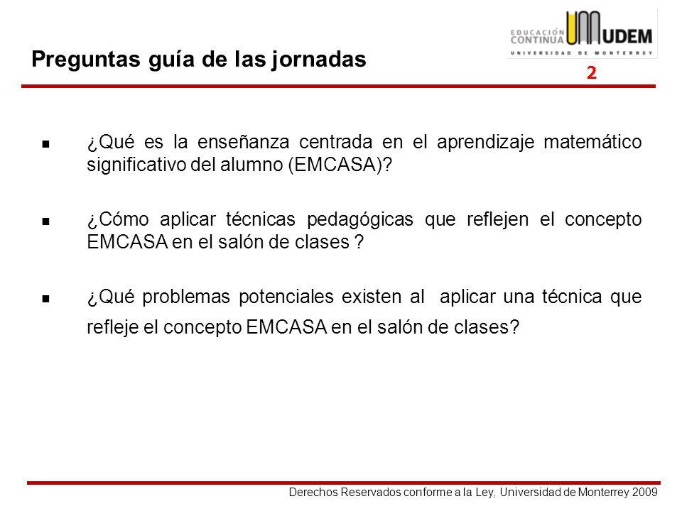 Derechos Reservados conforme a la Ley, Universidad de Monterrey 2009 Preguntas guía de las jornadas ¿Qué es la enseñanza centrada en el aprendizaje ma