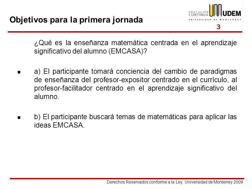 Derechos Reservados conforme a la Ley, Universidad de Monterrey 2009 Objetivos para la primera jornada ¿Qué es la enseñanza matemática centrada en el