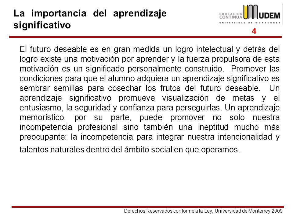 Derechos Reservados conforme a la Ley, Universidad de Monterrey 2009 La importancia del aprendizaje significativo El futuro deseable es en gran medida