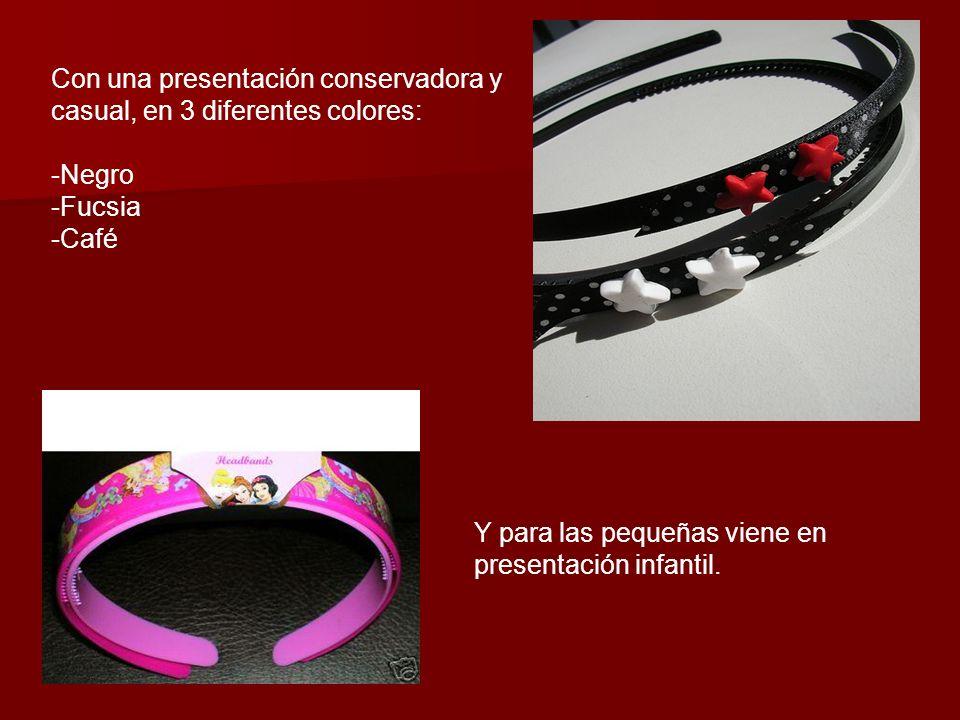 Con una presentación conservadora y casual, en 3 diferentes colores: -Negro -Fucsia -Café Y para las pequeñas viene en presentación infantil.