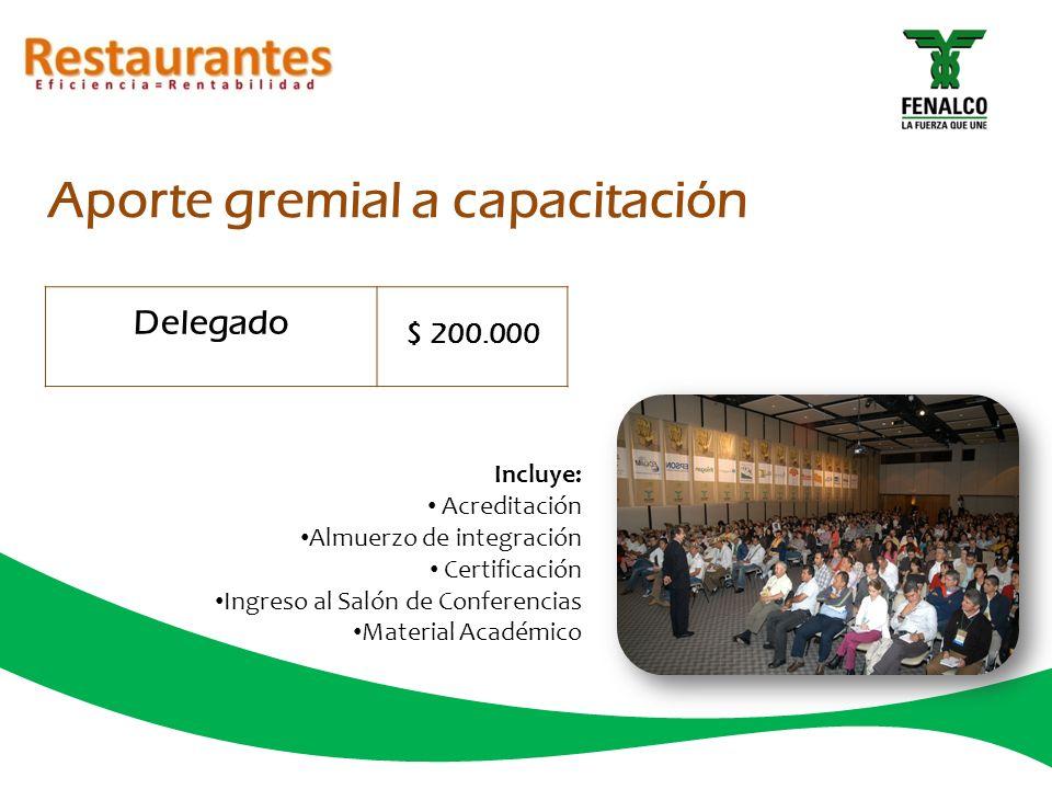 Aporte gremial a capacitación Delegado $ 200.000 Incluye: Acreditación Almuerzo de integración Certificación Ingreso al Salón de Conferencias Material Académico