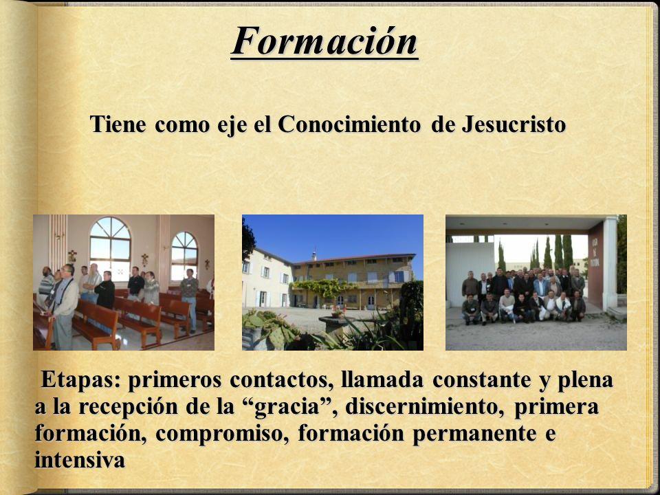 Tiene como eje el Conocimiento de Jesucristo Tiene como eje el Conocimiento de Jesucristo Formación Etapas: primeros contactos, llamada constante y plena a la recepción de la gracia, discernimiento, primera formación, compromiso, formación permanente e intensiva