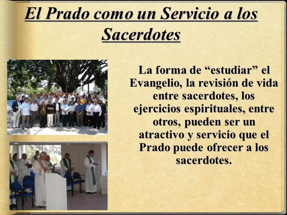 La forma de estudiar el Evangelio, la revisión de vida entre sacerdotes, los ejercicios espirituales, entre otros, pueden ser un atractivo y servicio que el Prado puede ofrecer a los sacerdotes.