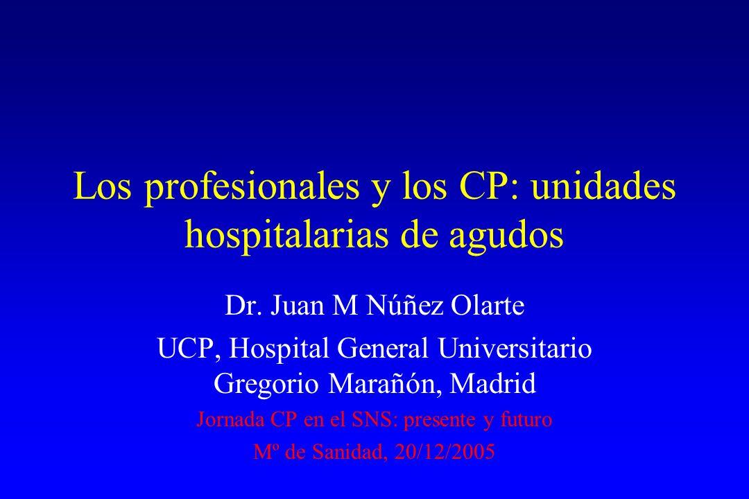 Los profesionales y los CP: unidades hospitalarias de agudos Dr. Juan M Núñez Olarte UCP, Hospital General Universitario Gregorio Marañón, Madrid Jorn