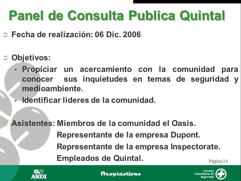 Página 14 Panel de Consulta Publica Quintal Fecha de realización: 06 Dic. 2006 Objetivos: Propiciar un acercamiento con la comunidad para conocer sus