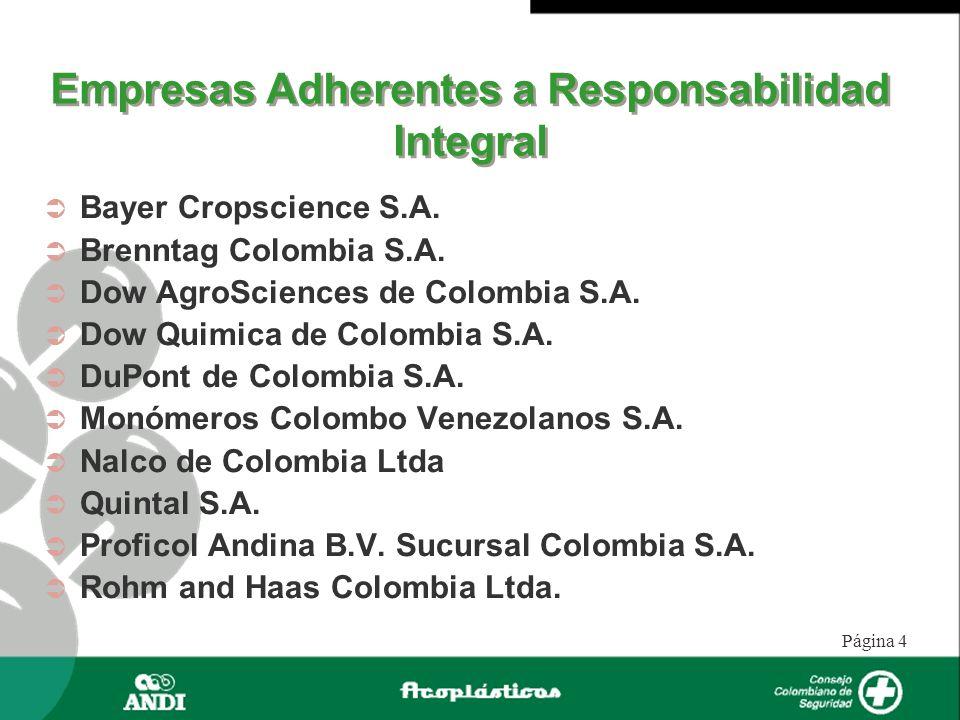 Página 4 Empresas Adherentes a Responsabilidad Integral Bayer Cropscience S.A. Brenntag Colombia S.A. Dow AgroSciences de Colombia S.A. Dow Quimica de