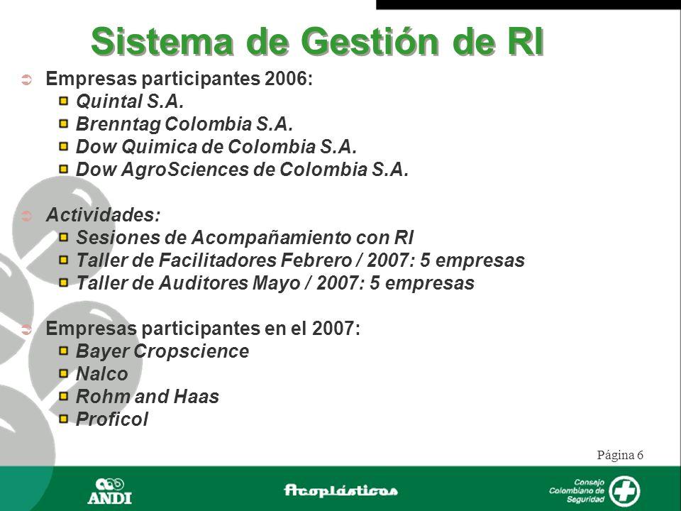 Página 6 Sistema de Gestión de RI Empresas participantes 2006: Quintal S.A. Brenntag Colombia S.A. Dow Quimica de Colombia S.A. Dow AgroSciences de Co