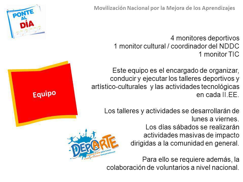Equipo Movilización Nacional por la Mejora de los Aprendizajes 4 monitores deportivos 1 monitor cultural / coordinador del NDDC 1 monitor TIC Este equ