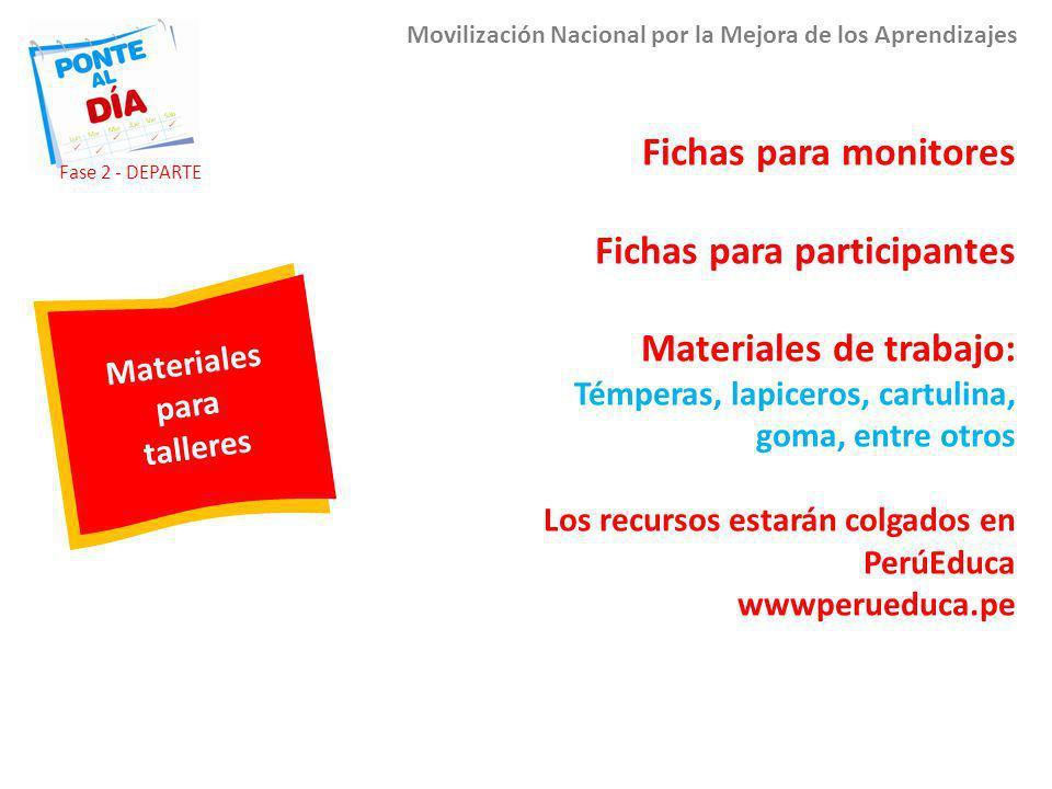 Materiales para talleres Movilización Nacional por la Mejora de los Aprendizajes Fichas para monitores Fichas para participantes Materiales de trabajo