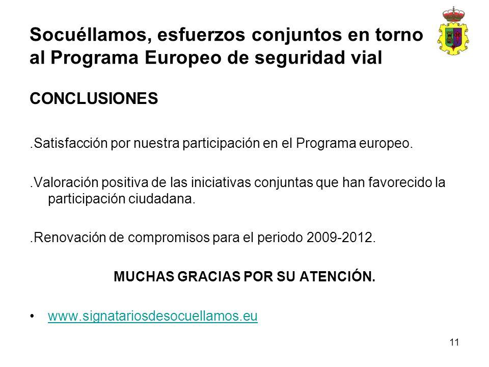 11 CONCLUSIONES.Satisfacción por nuestra participación en el Programa europeo..Valoración positiva de las iniciativas conjuntas que han favorecido la