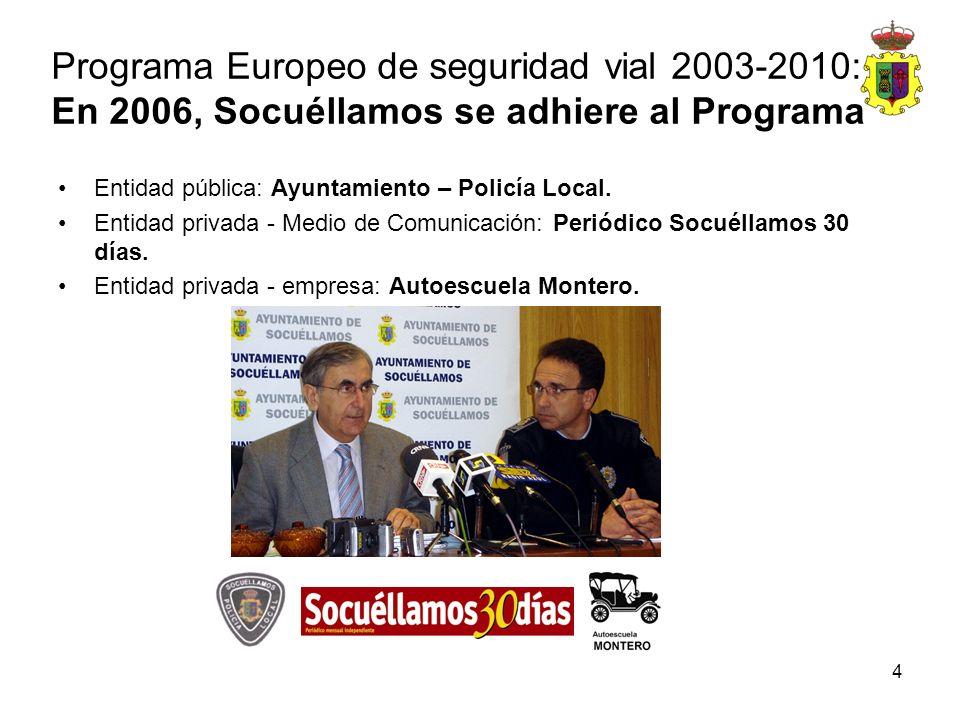 4 Programa Europeo de seguridad vial 2003-2010: En 2006, Socuéllamos se adhiere al Programa Entidad pública: Ayuntamiento – Policía Local. Entidad pri