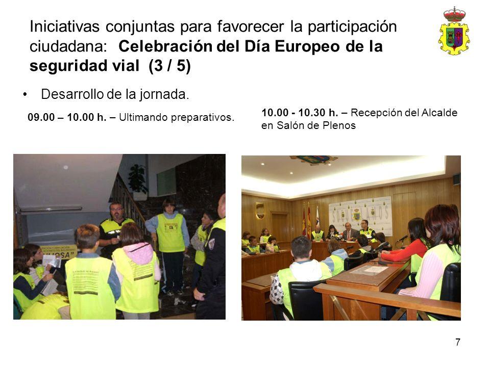 7 Desarrollo de la jornada. 09.00 – 10.00 h. – Ultimando preparativos. 10.00 - 10.30 h. – Recepción del Alcalde en Salón de Plenos Iniciativas conjunt