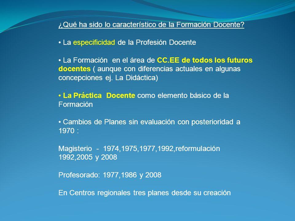 ¿Qué ha sido lo característico de la Formación Docente? La especificidad de la Profesión Docente La Formación en el área de CC.EE de todos los futuros