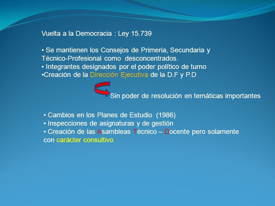 Vuelta a la Democracia : Ley 15.739 Se mantienen los Consejos de Primeria, Secundaria y Técnico-Profesional como desconcentrados. Integrantes designad