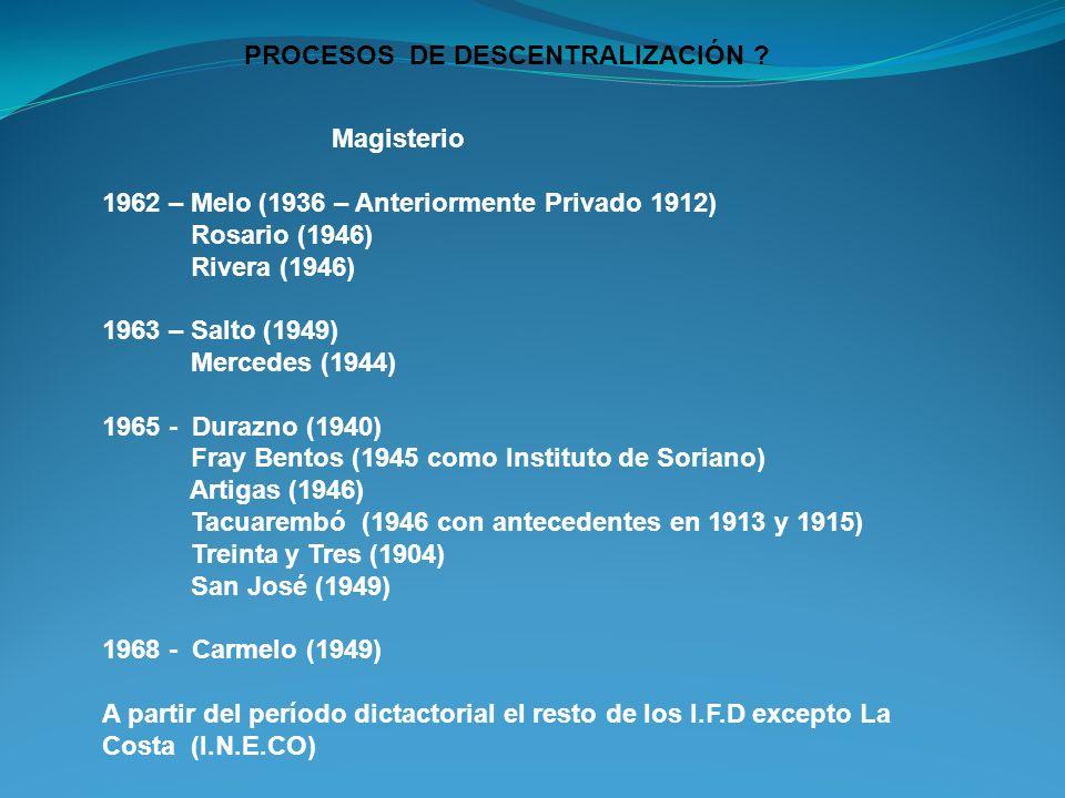 PROCESOS DE DESCENTRALIZACIÓN ? Magisterio 1962 – Melo (1936 – Anteriormente Privado 1912) Rosario (1946) Rivera (1946) 1963 – Salto (1949) Mercedes (