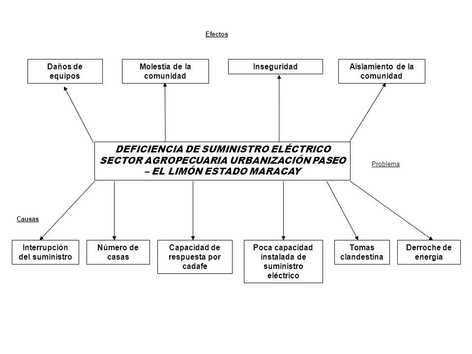 Daños de equipos Molestia de la comunidad Aislamiento de la comunidad Inseguridad DEFICIENCIA DE SUMINISTRO ELÉCTRICO SECTOR AGROPECUARIA URBANIZACIÓN