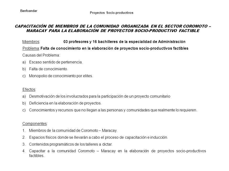 Proyectos Socio-productivos Banfoandar CAPACITACIÓN DE MIEMBROS DE LA COMUNIDAD ORGANIZADA EN EL SECTOR COROMOTO – MARACAY PARA LA ELABORACIÓN DE PROY