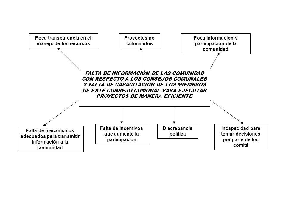 FALTA DE INFORMACIÓN DE LAS COMUNIDAD CON RESPECTO A LOS CONSEJOS COMUNALES Y FALTA DE CAPACITACIÓN DE LOS MIEMBROS DE ESTE CONSEJO COMUNAL PARA EJECU