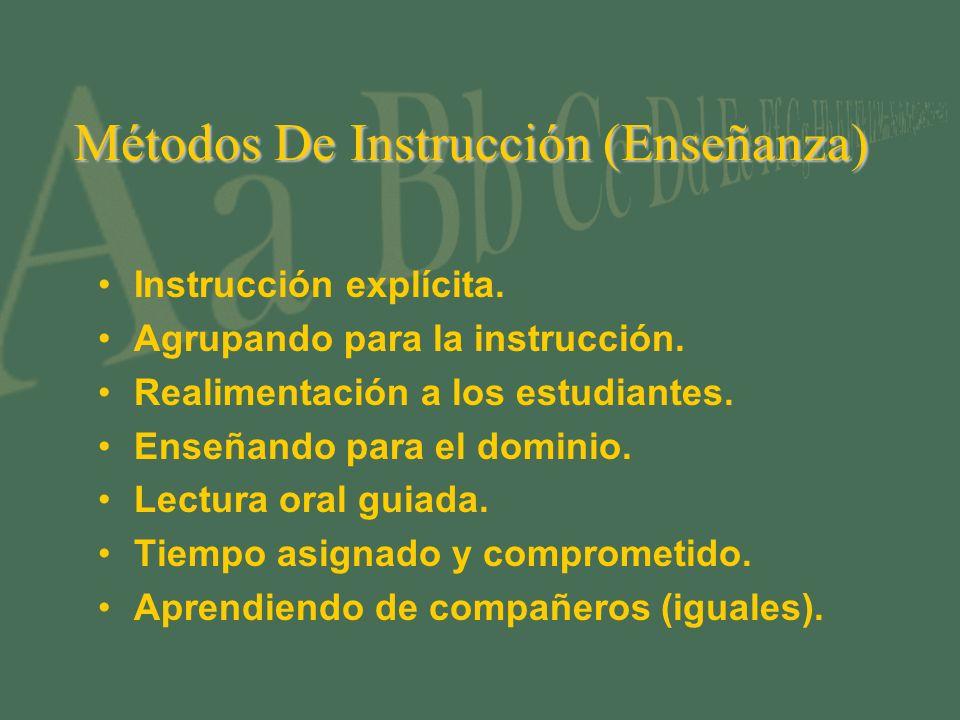 Métodos De Instrucción (Enseñanza) Instrucción explícita. Agrupando para la instrucción. Realimentación a los estudiantes. Enseñando para el dominio.