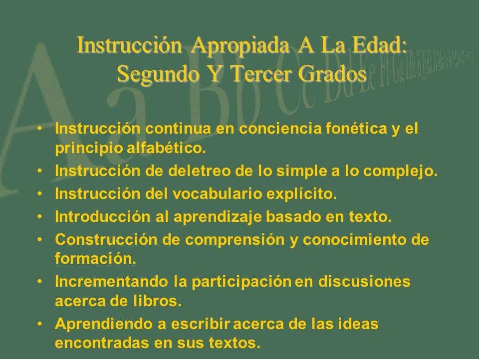 Instrucción Apropiada A La Edad: Segundo Y Tercer Grados Instrucción continua en conciencia fonética y el principio alfabético.