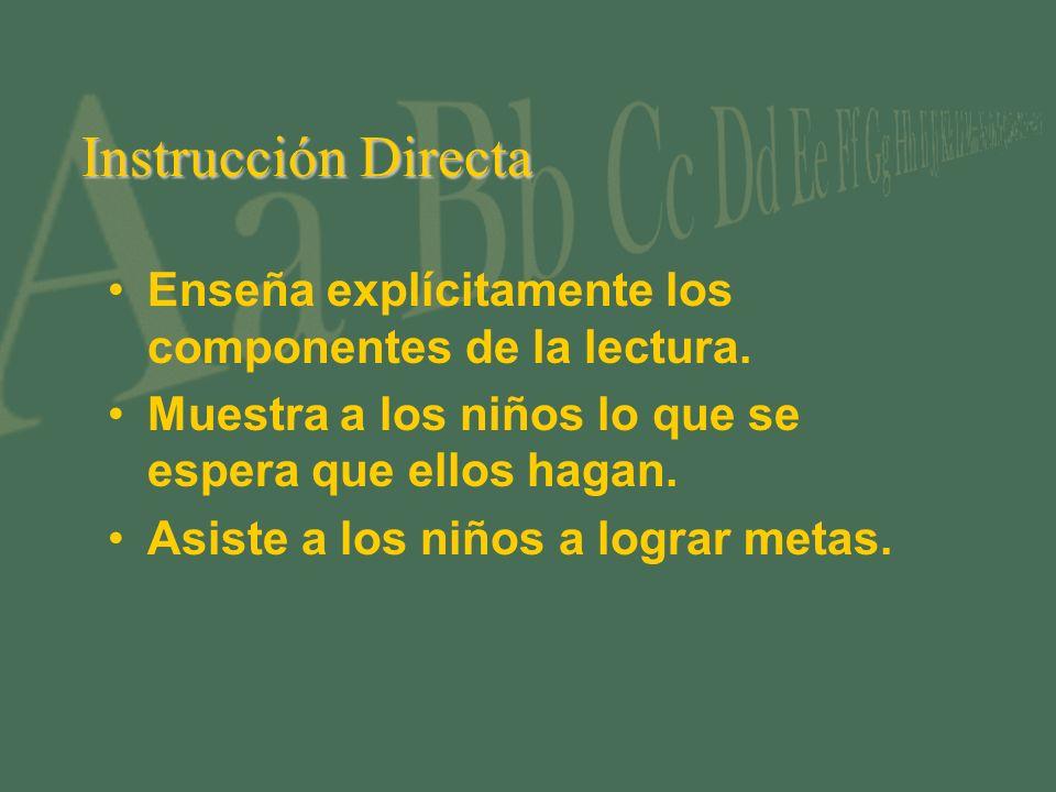 Instrucción Directa Enseña explícitamente los componentes de la lectura.