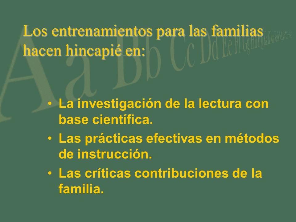 Los entrenamientos para las familias hacen hincapié en: La investigación de la lectura con base científica. Las prácticas efectivas en métodos de inst