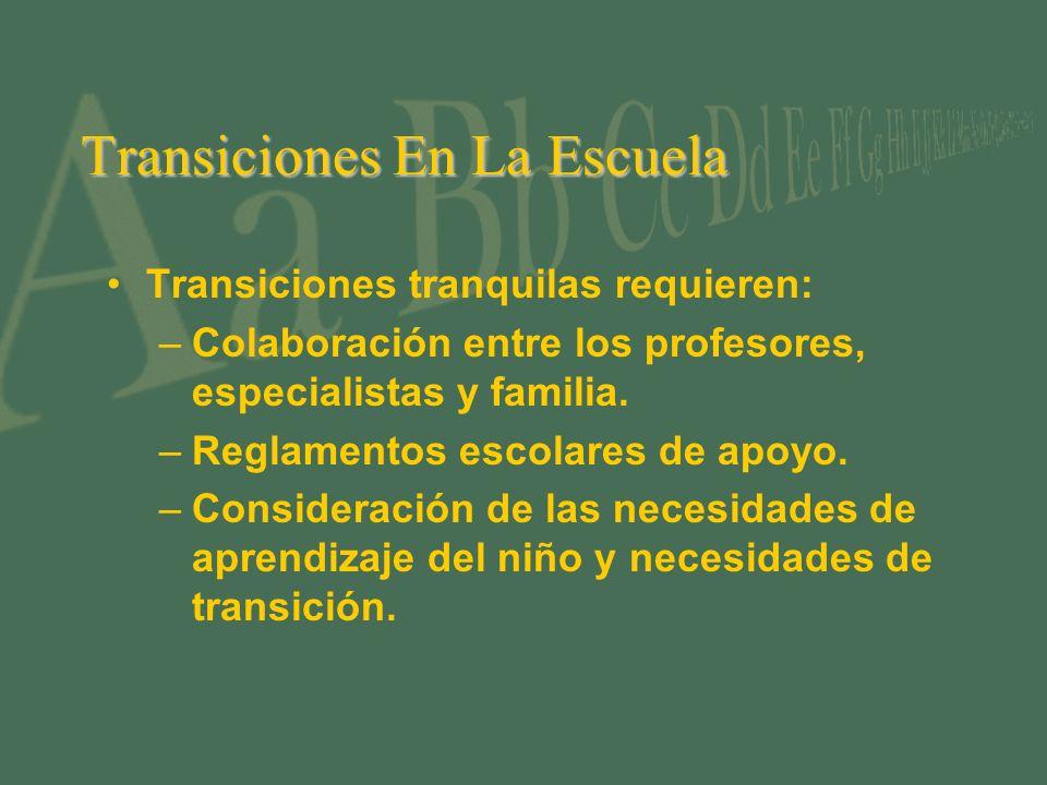 Transiciones En La Escuela Transiciones tranquilas requieren: –Colaboración entre los profesores, especialistas y familia. –Reglamentos escolares de a