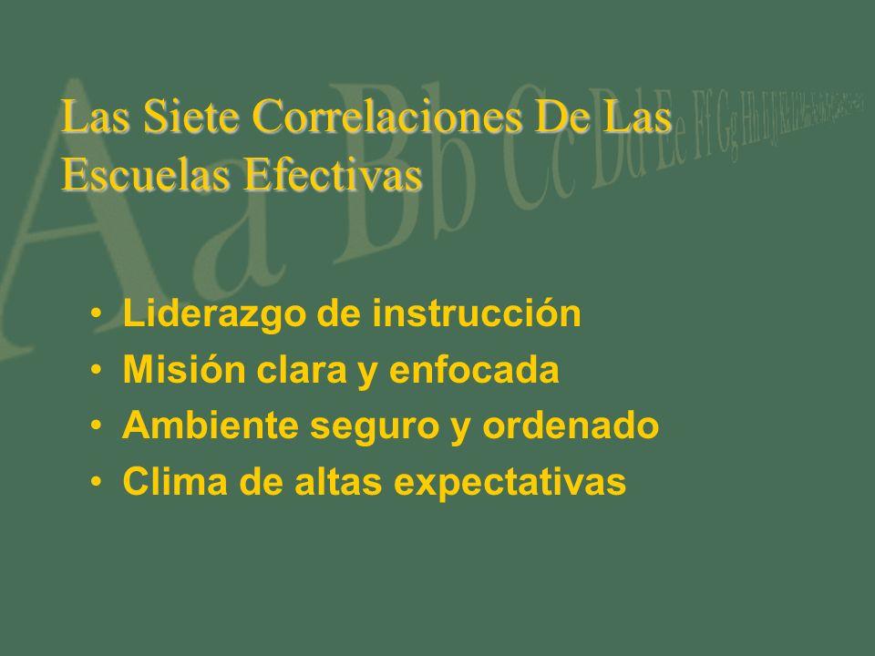 Las Siete Correlaciones De Las Escuelas Efectivas Liderazgo de instrucción Misión clara y enfocada Ambiente seguro y ordenado Clima de altas expectativas
