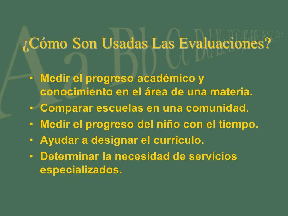 ¿Cómo Son Usadas Las Evaluaciones? Medir el progreso académico y conocimiento en el área de una materia. Comparar escuelas en una comunidad. Medir el