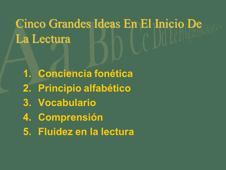 Cinco Grandes Ideas En El Inicio De La Lectura 1.Conciencia fonética 2.Principio alfabético 3.Vocabulario 4.Comprensión 5.Fluidez en la lectura