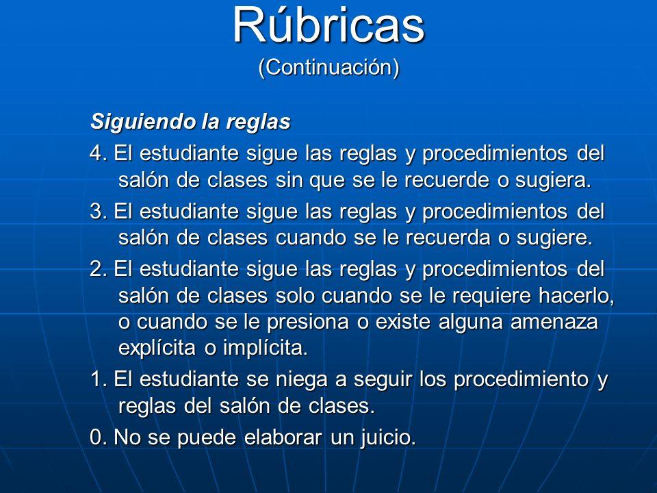 Siguiendo la reglas 4. El estudiante sigue las reglas y procedimientos del salón de clases sin que se le recuerde o sugiera. 3. El estudiante sigue la