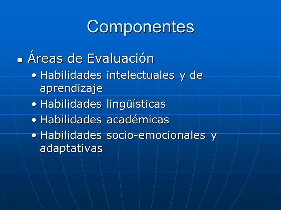 Componentes Áreas de Evaluación Áreas de Evaluación Habilidades intelectuales y de aprendizajeHabilidades intelectuales y de aprendizaje Habilidades l