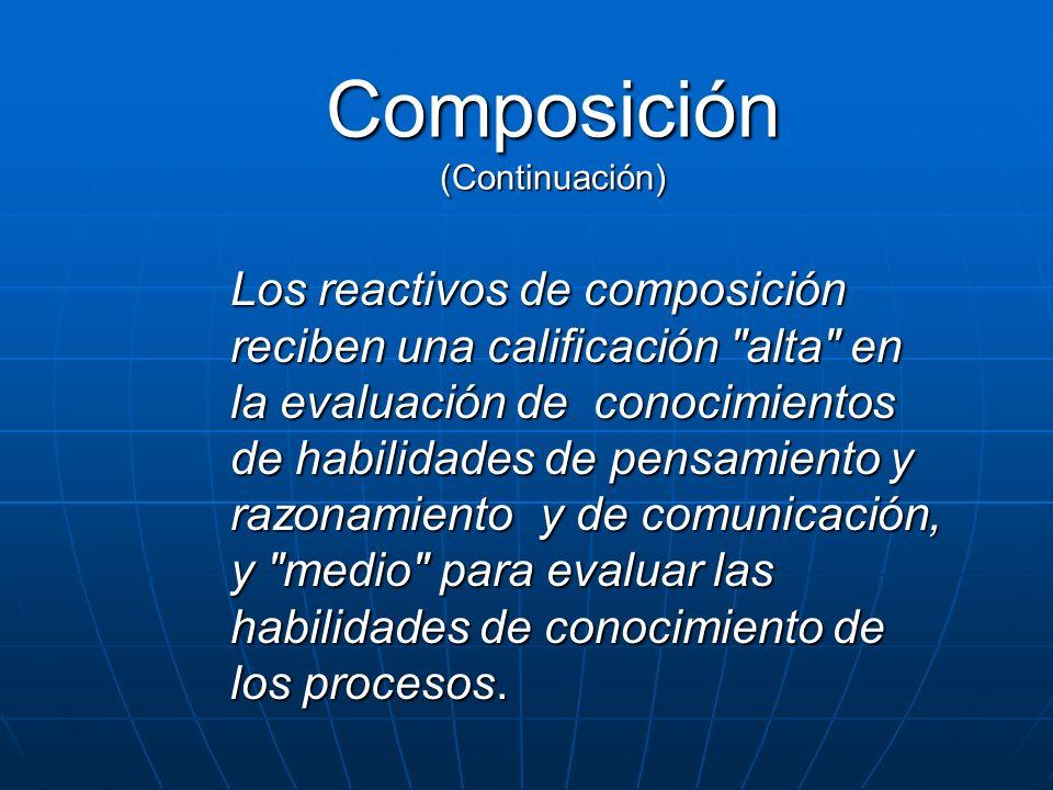 Composición (Continuación) Los reactivos de composición reciben una calificación