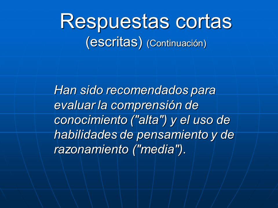 Respuestas cortas (escritas) (Continuación) Han sido recomendados para evaluar la comprensión de conocimiento (
